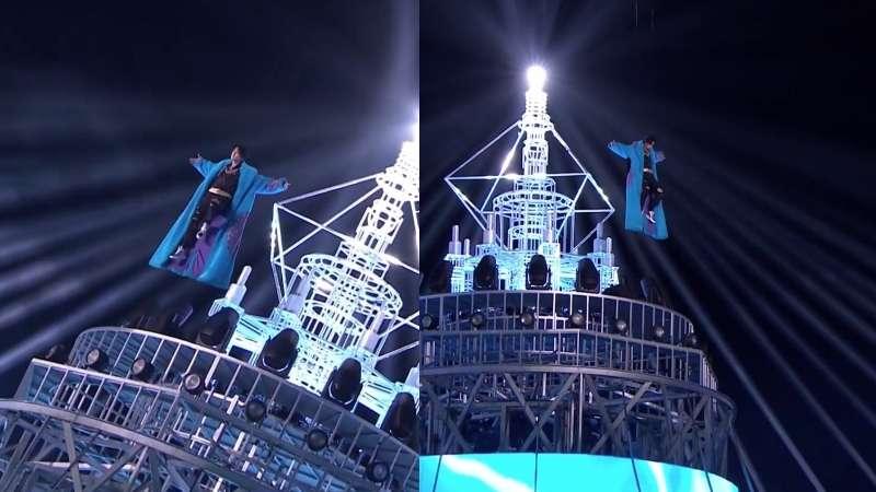 wang yibo flying at the new year concert