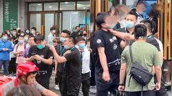 snh48 staf fighting in front of theater