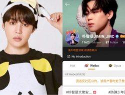 Usai Sewa Pesawat, Weibo Cekal Akun Fanclub Tiongkok Jimin BTS