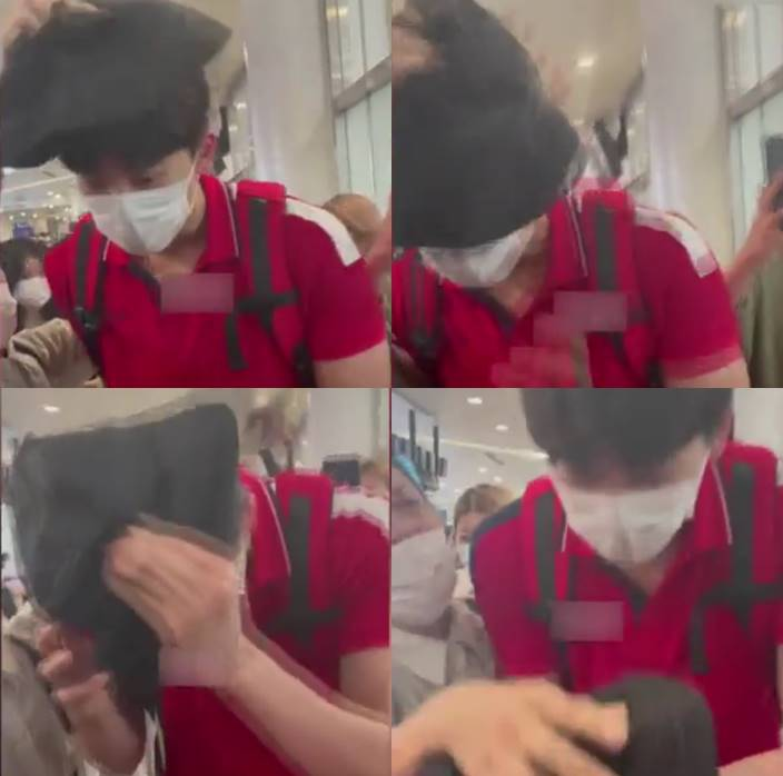 wang shun forced by fans to wear hat